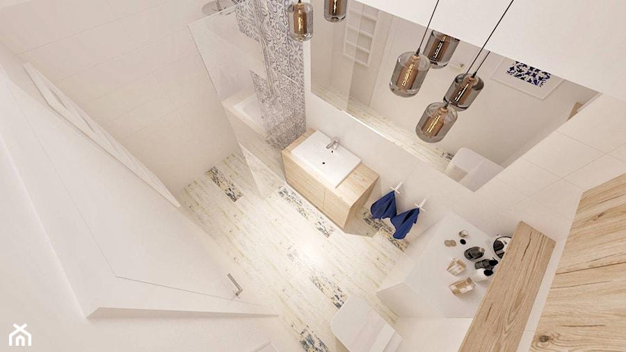 """Łazienka - Mała biała beżowa łazienka w bloku bez okna - zdjęcie od Pracownia Aranżacji Wnętrz """"O-kreślarnia"""""""