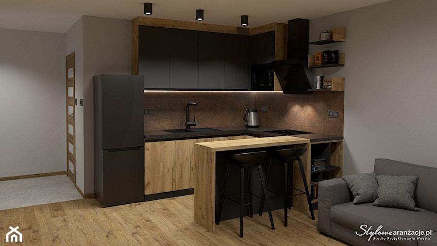 Grafitowo-drewniana kuchnia 04 - zdjęcie od STYLOWE ARANŻACJE Studio Projektowania Wnętrz