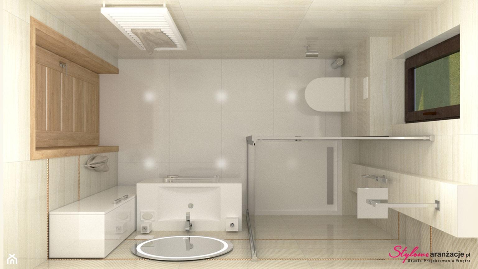 Łazienka z płytkami trawertyn 05 - zdjęcie od STYLOWE ARANŻACJE Studio Projektowania Wnętrz - Homebook