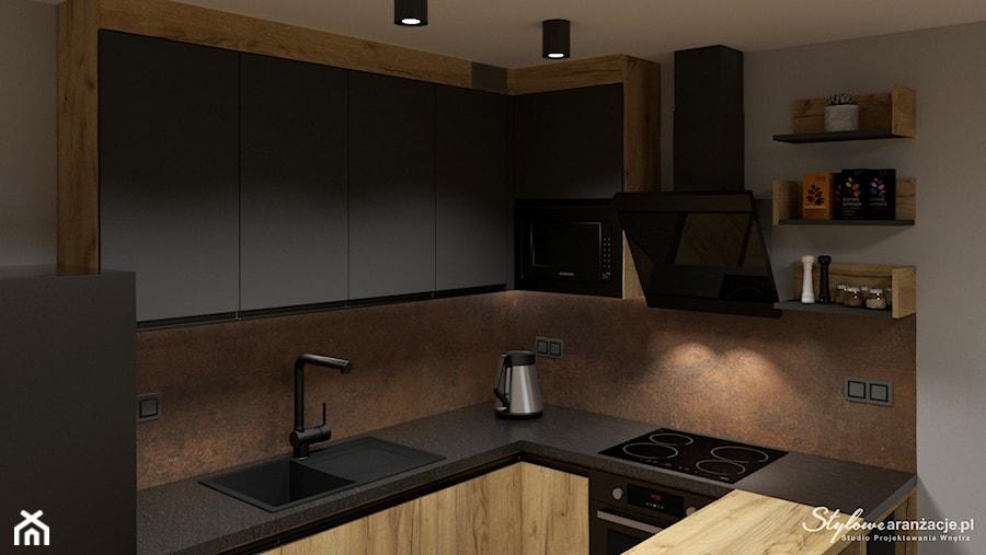 Grafitowo-drewniana kuchnia 01 - zdjęcie od STYLOWE ARANŻACJE Studio Projektowania Wnętrz