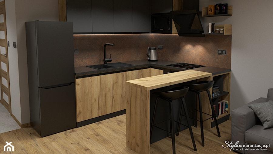 Grafitowo-drewniana kuchnia 03 - zdjęcie od STYLOWE ARANŻACJE Studio Projektowania Wnętrz