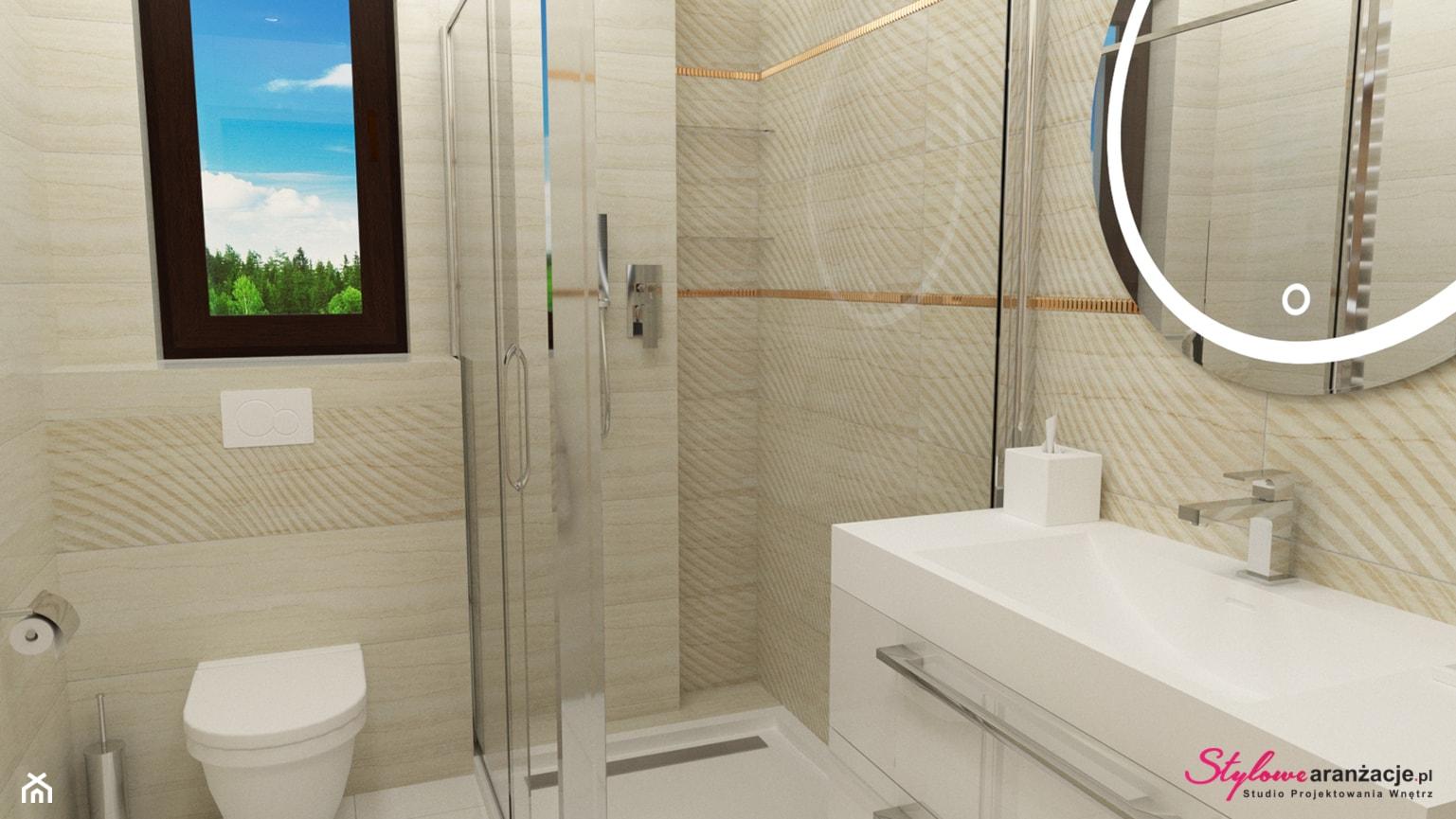Łazienka z płytkami trawertyn 01 - zdjęcie od STYLOWE ARANŻACJE Studio Projektowania Wnętrz - Homebook