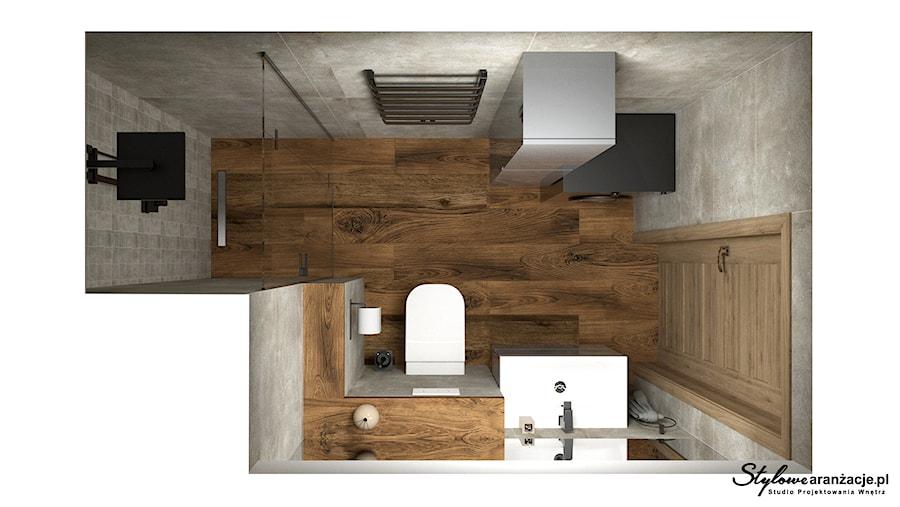 Łazienka z płytkami imitującymi kamień i drewno 01 - zdjęcie od STYLOWE ARANŻACJE Studio Projektowania Wnętrz