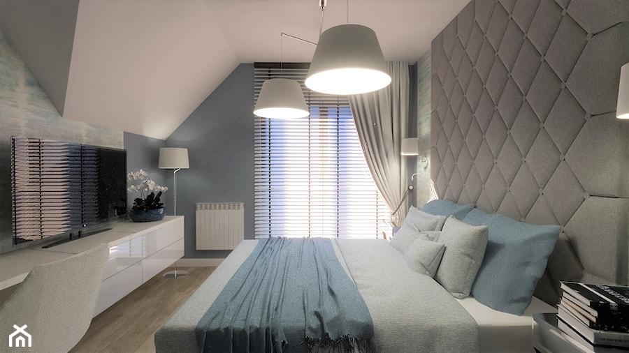 Aranżacje wnętrz - Sypialnia: Ciekawe wnętrze w stylu glamour - Średnia niebieska sypialnia małżeńska na poddaszu, styl glamour - Pracownia Projektowa Ładne Wnętrza. Przeglądaj, dodawaj i zapisuj najlepsze zdjęcia, pomysły i inspiracje designerskie. W bazie mamy już prawie milion fotografii!