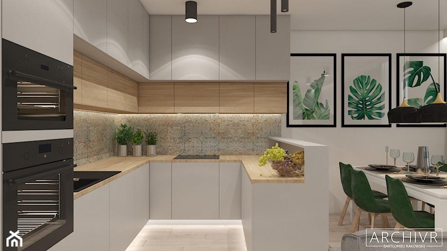 Mieszkanie Sieradz II - Średnia otwarta biała szara kuchnia w kształcie litery u, styl nowoczesny - zdjęcie od ArchiVR Bartlomiej Rakowski