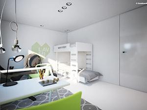 Pokój cztero i ośmiolatka - Średni biały zielony pokój dziecka dla chłopca dla rodzeństwa dla nastolatka, styl minimalistyczny - zdjęcie od Kosakowski Studio