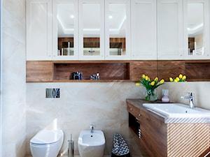 Łazienka - Średnia łazienka w bloku w domu jednorodzinnym z oknem, styl skandynawski - zdjęcie od architektura&wnętrza Monika Kowalewska Pracownia Projektowa