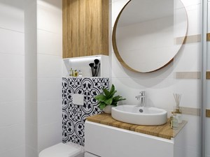 OTULONE DREWNEM - Mała biała czarna łazienka w bloku w domu jednorodzinnym bez okna, styl nowoczesny - zdjęcie od j.MI