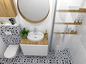 OTULONE DREWNEM - Średnia łazienka w bloku w domu jednorodzinnym bez okna, styl nowoczesny - zdjęcie od j.MI