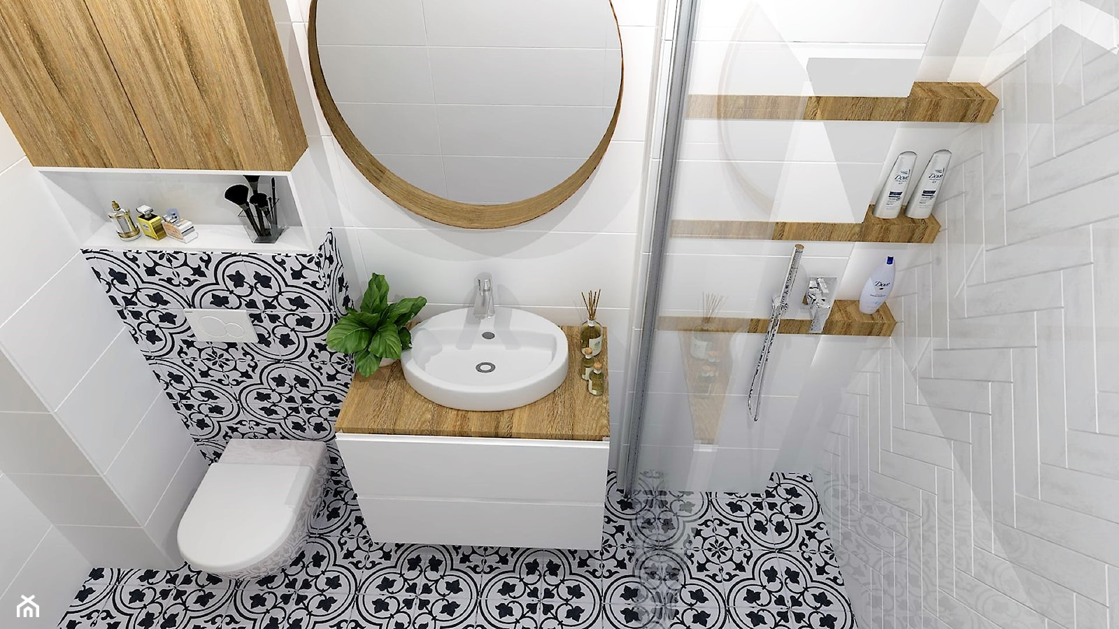OTULONE DREWNEM - Średnia łazienka w bloku w domu jednorodzinnym bez okna, styl nowoczesny - zdjęcie od j.MI - Homebook