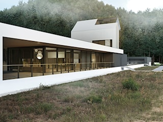 Horyzontalny modernistyczny dom jednorodzinny