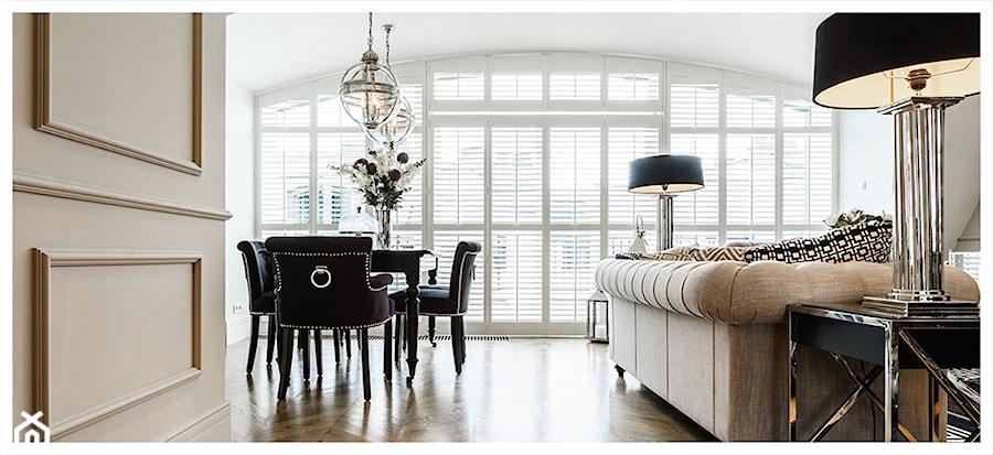 apartament sopot redni salon z jadalni styl art deco zdj cie od fabryka wnetrz. Black Bedroom Furniture Sets. Home Design Ideas