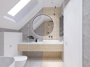 niepołomice - Średnia biała szara łazienka na poddaszu w domu jednorodzinnym z oknem, styl nowoczesny - zdjęcie od ajaje - architekci & projektanci wnętrz