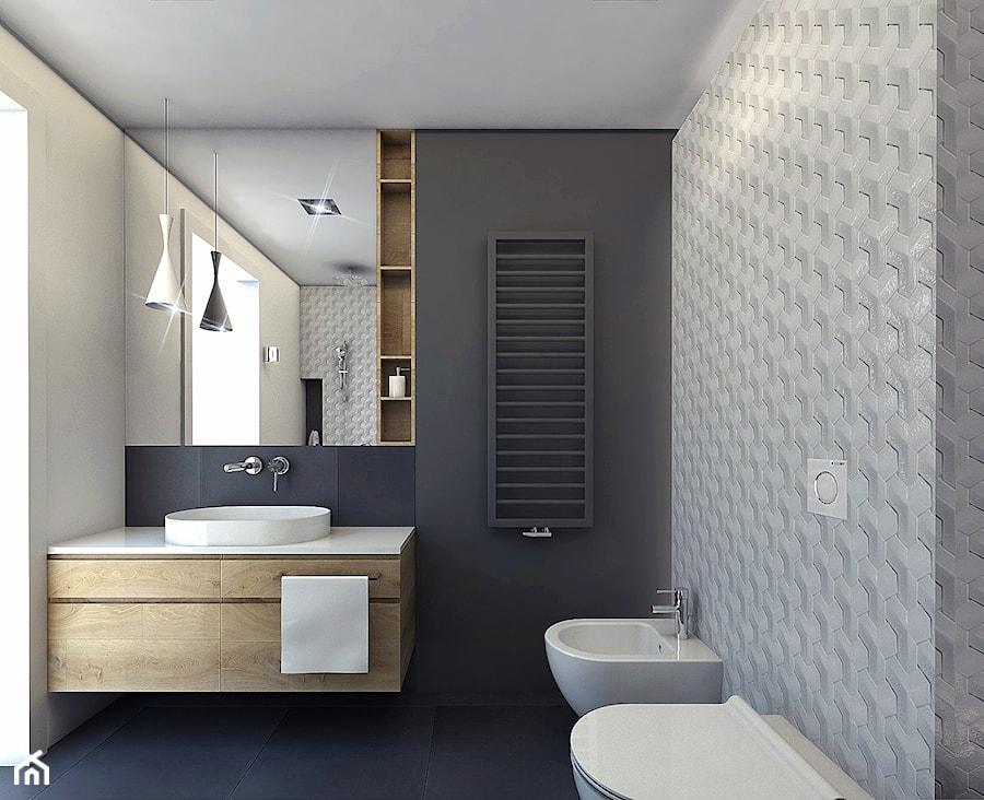 tarnow mieszkanie 60m2 - Duża szara łazienka, styl nowoczesny - zdjęcie od ajaje - architekci & projektanci wnętrz