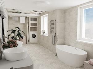 Łazienka z motywem kwiatowym - Duża łazienka w bloku w domu jednorodzinnym z oknem, styl nowoczesny - zdjęcie od Blanka Mróz
