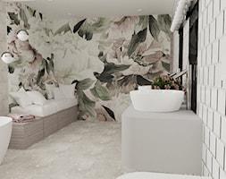 Łazienka z motywem kwiatowym - Duża łazienka w bloku w domu jednorodzinnym jako salon kąpielowy z oknem, styl nowoczesny - zdjęcie od Blanka Mróz