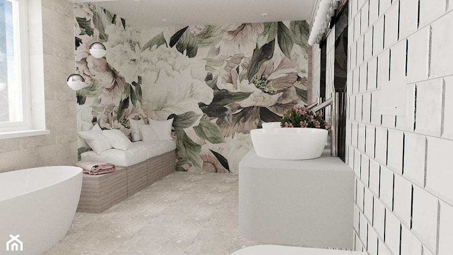 Łazienka z motywem kwiatowym - Duża łazienka w bloku w domu jednorodzinnym jako salon kąpielowy z oknem, styl nowoczesny - zdjęcie od MRÓZdesign