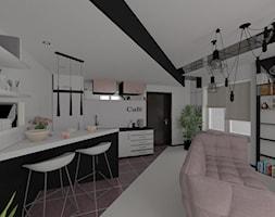 Salon z kuchnią - Mały biały salon z kuchnią z jadalnią, styl nowoczesny - zdjęcie od Blanka Mróz