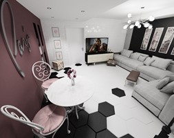 Paryż - Duży biały czarny brązowy salon z jadalnią, styl włoski - zdjęcie od Blanka Mróz