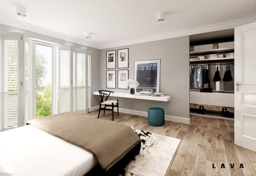 nasycone bielą - Duża szara sypialnia małżeńska z garderobą, styl skandynawski - zdjęcie od LAVA Projektowanie Wnętrz - Homebook