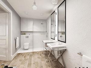 nasycone bielą - Średnia biała łazienka w bloku bez okna, styl skandynawski - zdjęcie od LAVA Projektowanie Wnętrz