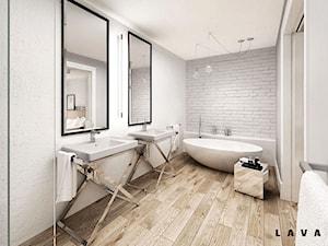 nasycone bielą - Duża biała łazienka jako salon kąpielowy bez okna, styl skandynawski - zdjęcie od LAVA Projektowanie Wnętrz