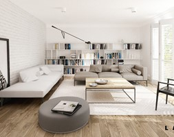 nasycone bielą - Duży biały salon z bibiloteczką z tarasem / balkonem, styl skandynawski - zdjęcie od LAVA Projektowanie Wnętrz - Homebook