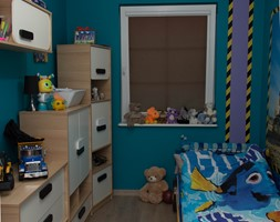 Mała zmiana po latach - metamorfoza 35m :) - Mały turkusowy pokój dziecka dla chłopca dla malucha - zdjęcie od Dominik Małgowski
