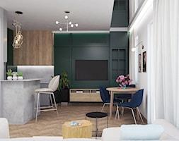 Elegancja_FRACNCJA (?) w Łodzi - Średni biały zielony salon z kuchnią z jadalnią, styl art deco - zdjęcie od Metry do kwadratu