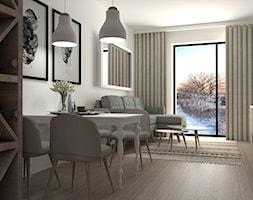 Mieszkanie dla młodego małżeństwa - Mały biały salon z barkiem z jadalnią z tarasem / balkonem, styl skandynawski - zdjęcie od Marlena Wójcik interiors