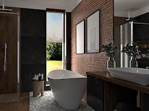 Loftowe SPA - Duża kolorowa łazienka w bloku jako salon kąpielowy z oknem, styl industrialny - zdjęcie od Marlena Wójcik interiors