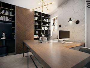 GABINET W DOMU PRYWATNYM - Średnie białe biuro domowe w pokoju, styl nowoczesny - zdjęcie od TG WNĘTRZA