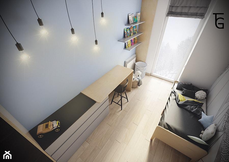 POKÓJ DZIECIĘCY - Mały niebieski pokój dziecka dla chłopca dla dziewczynki dla malucha, styl minimalistyczny - zdjęcie od TG WNĘTRZA