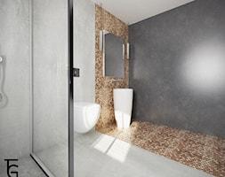 ŁAZIENKA BETON I KAFLE - Średnia czarna szara łazienka w bloku w domu jednorodzinnym bez okna, styl minimalistyczny - zdjęcie od TG WNĘTRZA