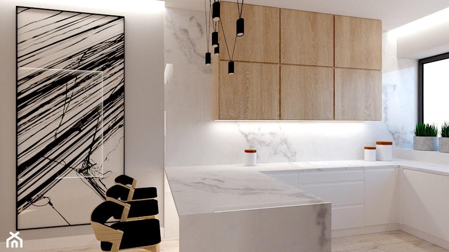 Aranżacje wnętrz - Kuchnia: DOM POD LASEM - Średnia otwarta szara kuchnia w kształcie litery u z oknem, styl nowoczesny - INSIDERS. Przeglądaj, dodawaj i zapisuj najlepsze zdjęcia, pomysły i inspiracje designerskie. W bazie mamy już prawie milion fotografii!