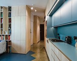 Mieszkanie na Sielcach - Średnia otwarta niebieska kuchnia jednorzędowa w aneksie - zdjęcie od Mili Młodzi Ludzie