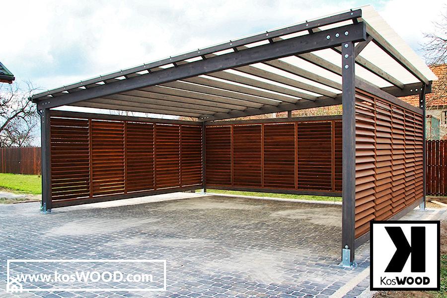 Wiata garażowa dwustanowiskowa z zabudową. - zdjęcie od koswood
