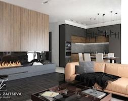 We love what we do - Duży szary czarny salon z kuchnią z jadalnią - zdjęcie od tz_interior