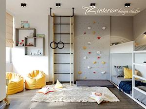 House Interior Design Ideas - Duży biały szary pokój dziecka dla chłopca dla dziewczynki dla rodzeństwa dla malucha dla nastolatka - zdjęcie od tz_interior