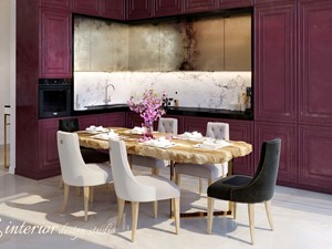 It's all about coziness. - Średnia otwarta biała kuchnia w kształcie litery l - zdjęcie od tz_interior