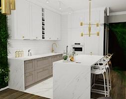 mieszkanie Warszawa - Średnia otwarta biała kuchnia w kształcie litery l w aneksie z wyspą, styl glamour - zdjęcie od ARTE.NIEMCZEWSKA
