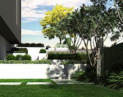 Ogród na dwóch poziomach - Średni ogród za domem, styl minimalistyczny - zdjęcie od ogrody