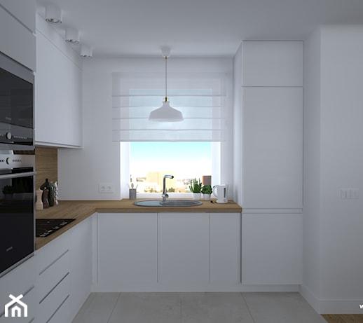 kuchnia biała z drewnem, drewniany blat  zdjęcie od DR STUDIO -> Biala Kuchnia Drewniany Stól