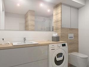 Mieszkanie w Katowicach - Średnia biała beżowa łazienka w bloku w domu jednorodzinnym bez okna, styl skandynawski - zdjęcie od SYME Pracownia Wnętrz