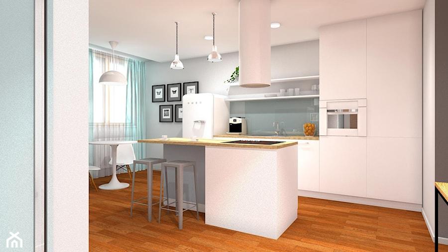 46m2 Mieszkanie W Bloku średnia Otwarta Szara Kuchnia Jednorzędowa
