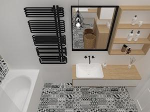 59 m2 mieszkanie w kamienicy - Średnia biała łazienka jako salon kąpielowy, styl nowoczesny - zdjęcie od Grant Studio