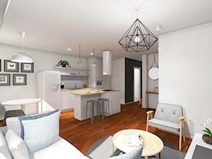 46m2 mieszkanie w bloku - Średni biały salon z kuchnią z jadalnią, styl skandynawski - zdjęcie od Grant Studio