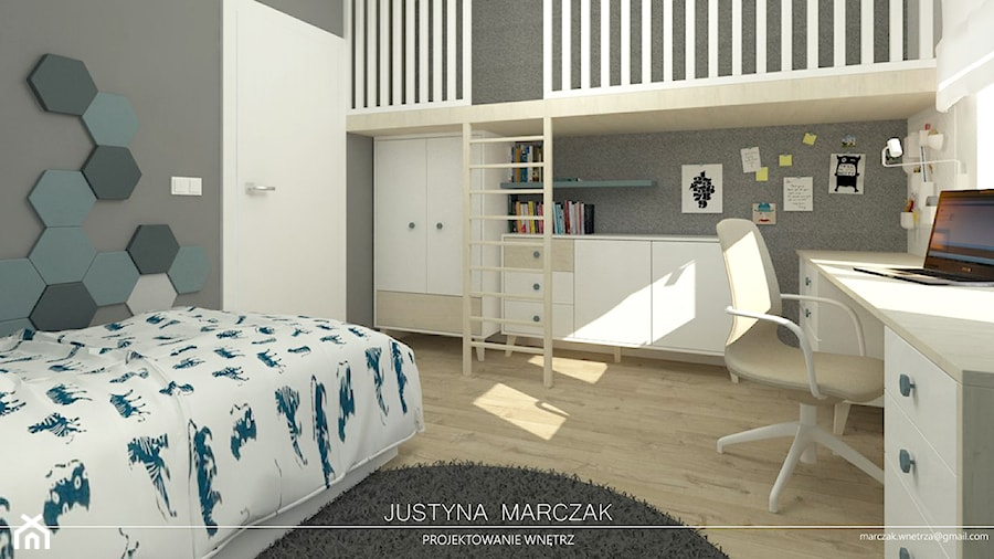 Pokój z antresolą - zdjęcie od Justyna Marczak Projektowanie Wnętrz