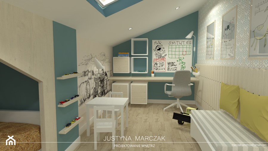 Aranżacje wnętrz - Pokój dziecka: Sielski pokój dziecka na poddaszu - Justyna Marczak Projektowanie Wnętrz. Przeglądaj, dodawaj i zapisuj najlepsze zdjęcia, pomysły i inspiracje designerskie. W bazie mamy już prawie milion fotografii!