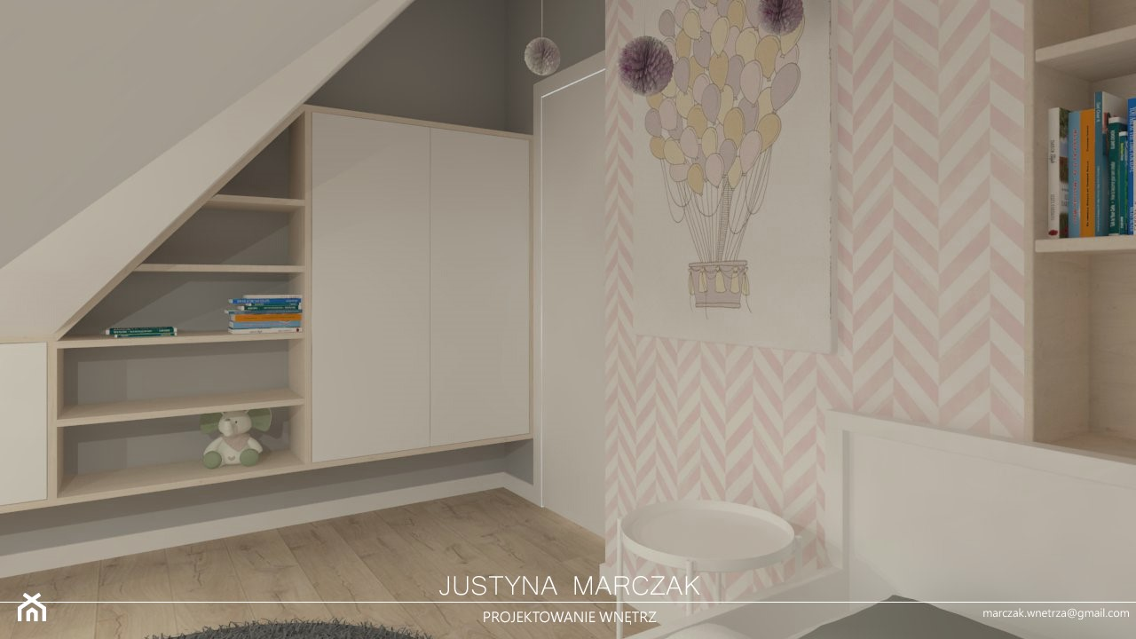 Pokój dziewczynki na poddaszu - zdjęcie od Justyna Marczak Projektowanie Wnętrz - Homebook